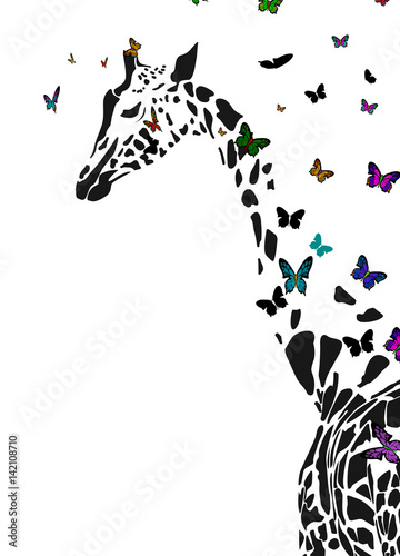 Photo Vector silhouette of  giraffe with butterflies flying around.