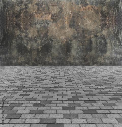 Perspective View Of Monotone Gray Brick Stone Street Road Sidewalk