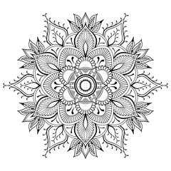 Flower black Mandala. Oriental pattern, vector illustration. Islam, Arabic, Indian ottoman motifs. Coloring book page