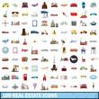 100 real estate icons set, cartoon style