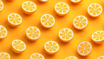 Collection of orange fruits 3d illustration