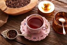 Kukicha Tea Served Pink Vintage Cup