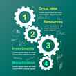 Business infographic template with gears cogwheels fsteps