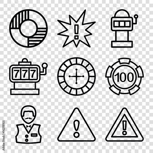 Photo  Set of 9 risk outline icons