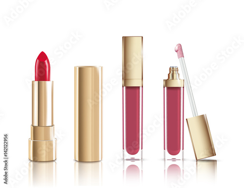Valokuva Beautiful red cosmetic lipstick and liquid lip gloss in gold