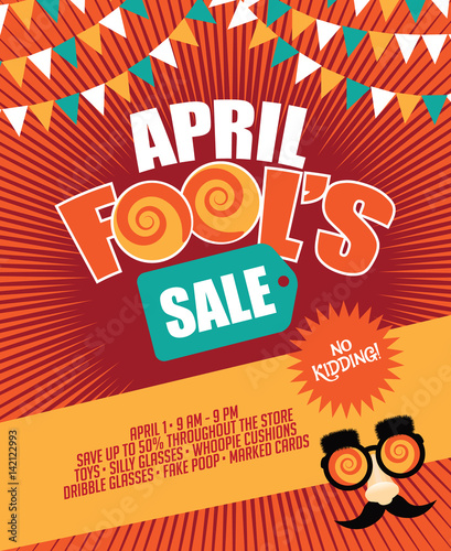 April Fools Day Sale bunting and burst marketing template with copy space Fototapeta