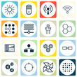 Set Of 16 Artificial Intelligence Icons. Includes Laptop Ventilator, Mainframe, Radio Waves And Other Symbols. Beautiful Design Elements.