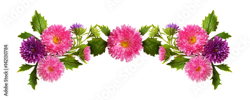 Pink and purple aster flowers and buds composition Canvas Print
