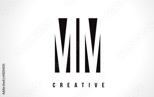 Poster MM M M White Letter Logo Design with Black Square.