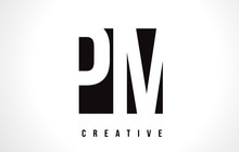 PM P L White Letter Logo Design With Black Square.