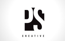 PS P S White Letter Logo Design With Black Square.