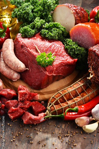 Staande foto Vlees Variety of meat products including ham and sausages