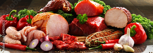 Spoed Foto op Canvas Vlees Variety of meat products including ham and sausages