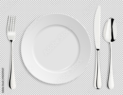 Fotografie, Obraz  Realistic empty vector plate with spoon, knife and fork isolated