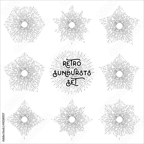 Retro sun bursts set, Vintage radiant sun rays shapes collection for ...