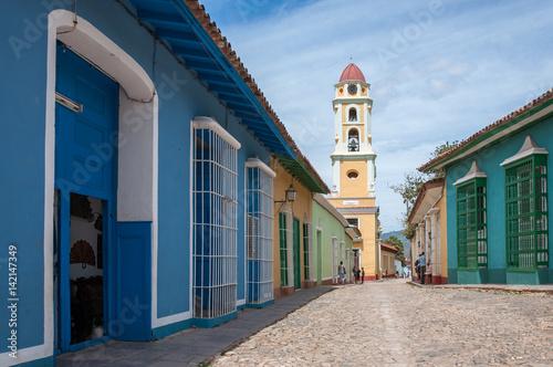 Colorful architecture in Trinidad -UNESCO World Heritage Site. Canvas Print