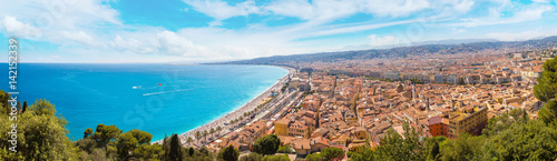 Spoed Foto op Canvas Nice Panoramic view of beach in Nice