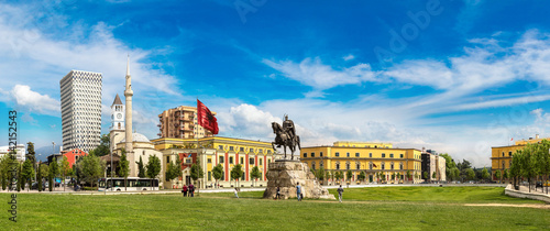 Skanderbeg square  in Tirana Canvas Print