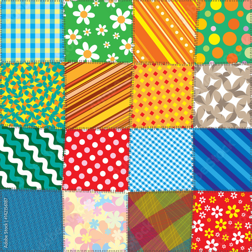 Colorful Quilt Patchwork. Vector Pattern Fototapete