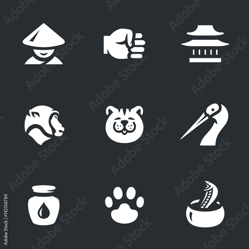 Vector Set of Kung Fu Styles Icons. Wallpaper Mural