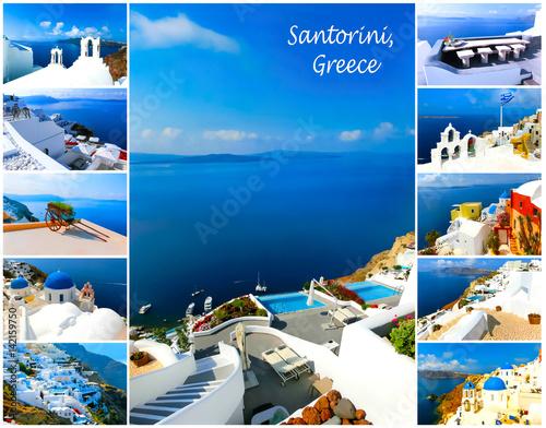 Foto op Aluminium Santorini Set of summer photos in Santorini, Greece