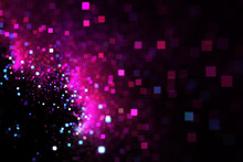 Abstract Pink And Blue Square Bokeh On Black Background. Fantasy Fractal Texture. Digital Art. 3D Rendering.