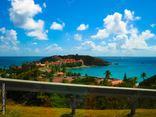 The view of the island of St. Maarten on a sunny day Poster