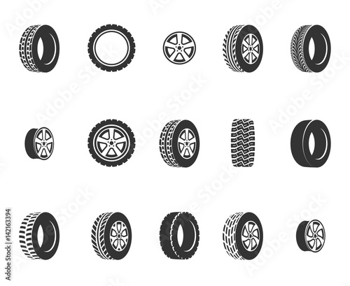 Cuadros en Lienzo  Tires, wheel disks auto service vector icons