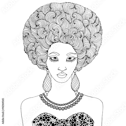 Vector African girl with magnificent curly afro hairstyle ...