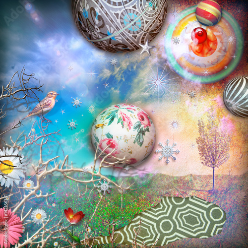 Wall Murals Imagination Enchanted countryside with starry sky,collage and planets