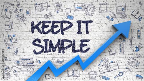 Fotografie, Obraz  Keep IT Simple Drawn on White Brickwall. 3d.