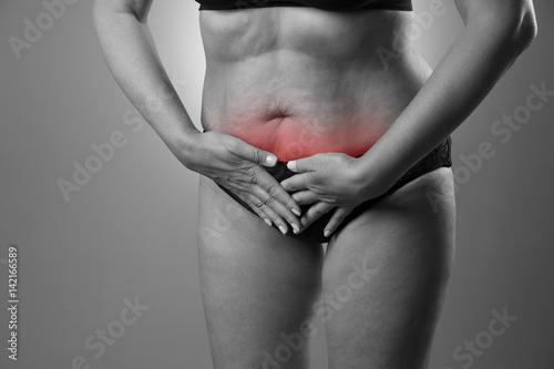 Fototapety, obrazy: Woman with menstrual pain, endometriosis or cystitis, stomach ache