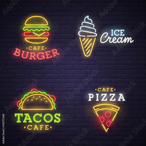 Burger neon sign. Ice cream neon sign. Nacos neon sign. Pizza neon sign.