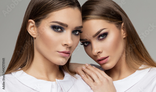 Beauty portrait of females faces Wallpaper Mural