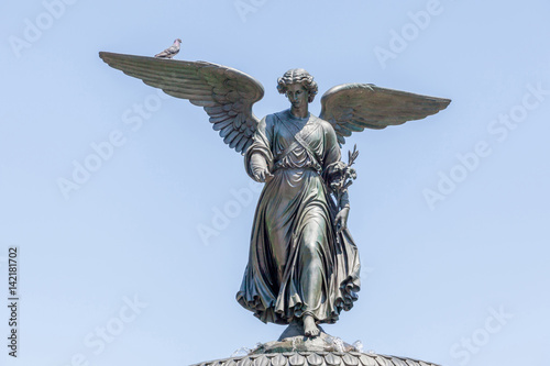 Bethesda Fountain (Angel of water fountain) located in Central Park, New York City, USA фототапет