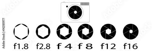 Photo aperture camera. vector image of aperture sizes