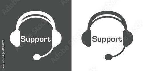 Icono plano Support en auriculares con microfono gris y blanco Wallpaper Mural
