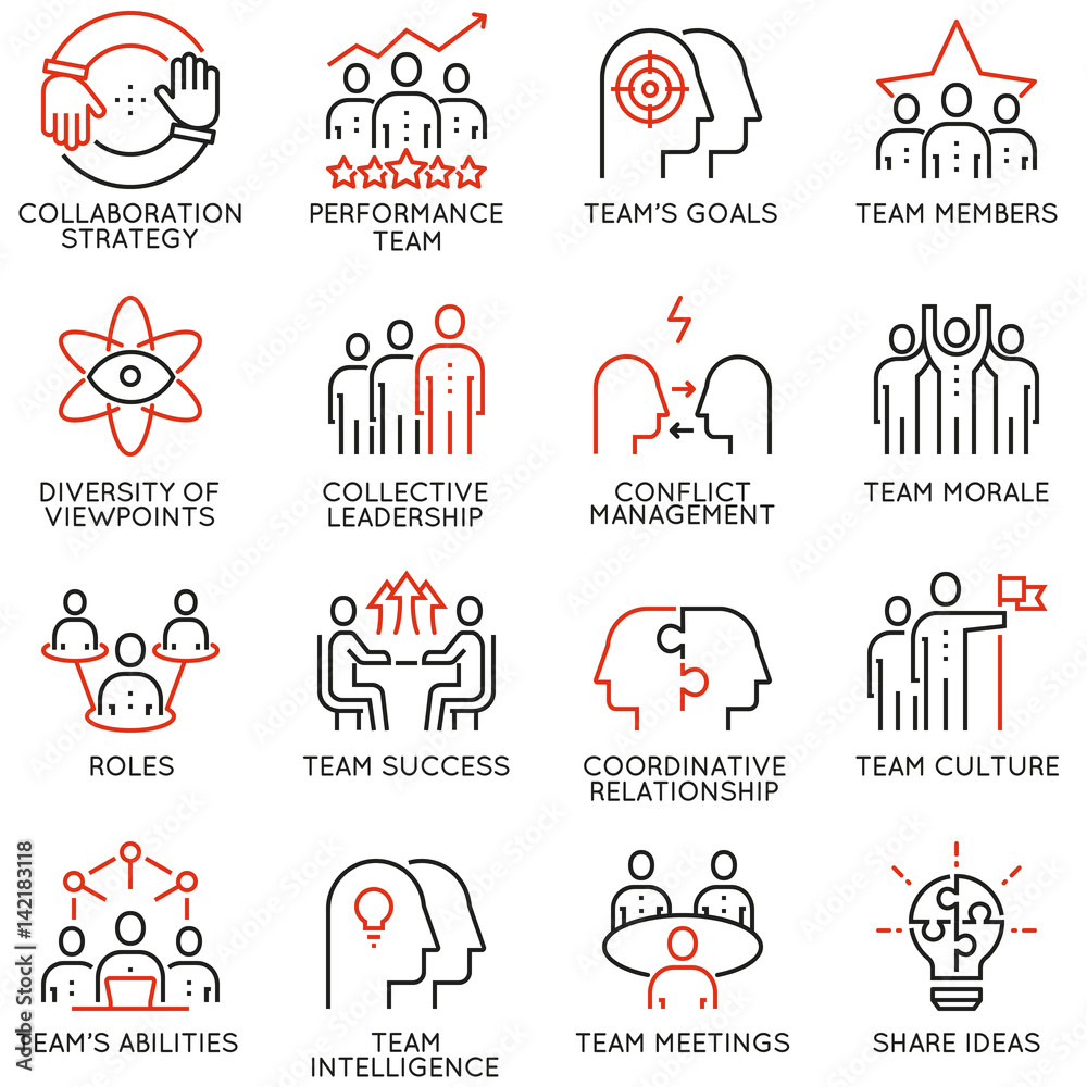 Fototapeta Vector set of 16 linear quality icons related to team work, career progress and business process. Mono line pictograms and infographics design elements - part 2