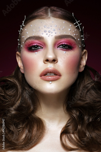 Plakát  Beautiful girl with perfect art makeup and pearl beads