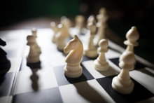 White Pieces On Chess Board, F...