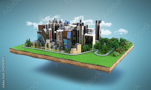 Image of a modern city surrounded by nature landscape 3d render on blue with clouds
