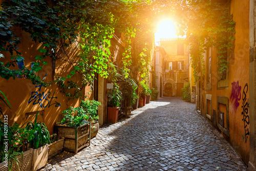 Photo Old street in Trastevere, Rome, Italy.