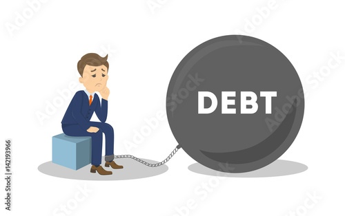 Photo Sad businessman or Office Worker with a Big Debt Weight