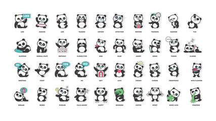 Fototapetacute panda, stickers collection, in different poses, different moods vector illustration