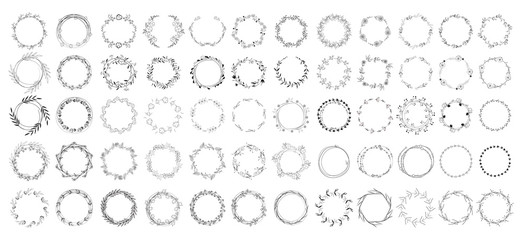 big set of floral round frames. vector illustration.