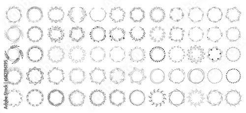 Obraz big set of floral round frames. vector illustration. - fototapety do salonu