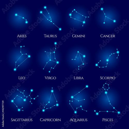 Zdjęcie XXL Wektor konstelacji. Dwanaście znaków zodiaku. Okrąg niebieski neon horoskop. Idealny do takich produktów jak t-shirty, poduszki, okładki albumów, strony internetowe, ulotki, plakaty i wszelkie projekty