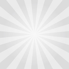 Vintage Sun Poster Background. Radial Element Pattern Backdrop. Sunburst Or Starburst. Gray Rays Texture For Your Design. Sunlight Placard. Vector Illustration