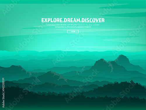 Aluminium Prints Green coral Mountains and forest. Wild nature landscape. Travel and adventure.Panorama. Into the woods. Horizon line.Trees,fogfog.