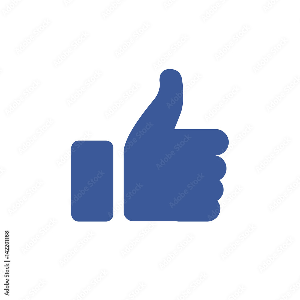 Fototapety, obrazy: Symbol of finger up, thumb up in flat style isolated on blue background.Vector illustration of hand.